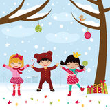 Happy kids dancing in Christmas Royalty Free Stock Photo
