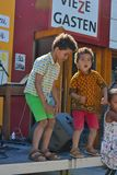 Happy kids dancing at festival Stock Photo