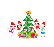 Happy Kids Decorating A Christmas Tree With element. Merry christmas background and greeting card design Royalty Free Stock Photography