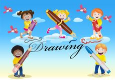Happy kids drawing theme. Illustration of happy kids drawing theme on colorful background Stock Photos