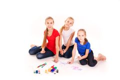 Happy kids drawing  on white Stock Image