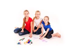 Happy kids drawing  on white Royalty Free Stock Images