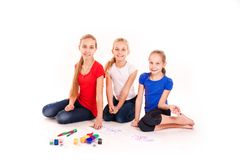 Happy kids drawing  on white Stock Images