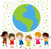Happy kids and earth. Illustration Stock Images