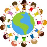 Happy kids and earth. Illustration Stock Image