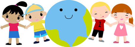 Happy kids and earth. Illustration Royalty Free Stock Photo