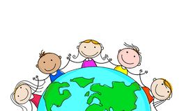 Happy kids and earth,cartoon,on white background vector illustration