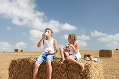 Happy kids eat Royalty Free Stock Images