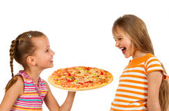 Free Happy Kids Eating Pizza Royalty Free Stock Image - 60120926