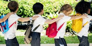 Happy kids at elementary school royalty free stock image