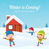 Happy kids enjoy play snowball fight with cute snowman at front of snowy house in winter season background vector illustration. Holiday greeting card, banner royalty free illustration