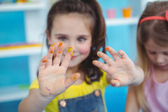 Happy kids enjoying arts and crafts together Stock Photo