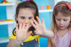 Happy kids enjoying arts and crafts together Royalty Free Stock Image