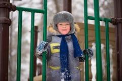 Happy kids enjoying riding on sledge Stock Photo