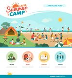 Happy kids enjoying summer camp together on the beach. They are camping, learning and doing sports together, diversity and education concept stock illustration