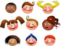 Happy Kids Faces. A set of nine faces of little boys and girls looking happy and smiling Royalty Free Stock Photography