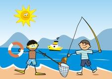 Happy kids, fisherman on the beach, postcard Stock Photos