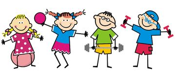 Happy kids, fitness, funny vector illustration. The boys strengthen themselves with dumbbells. Girls trains with ball. Funny illustration. Children and royalty free illustration