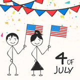 Happy kids with flag for American Independence Day celebration. Stock Image