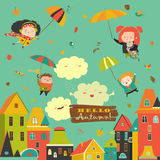 Happy kids flying with umbrellas under the city Stock Images