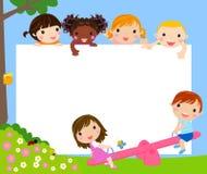 Happy kids and frame. Illustration Stock Photo