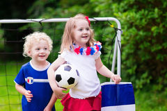 Happy kids, French football supporters Stock Photo