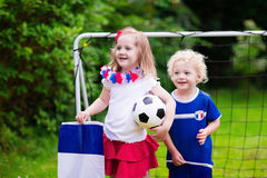 Happy kids, French football supporters Stock Images