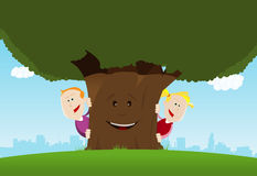 Happy Kids And Friendly Tree. Illustration of happy cartoon kids hiding behind a tree character Stock Photography