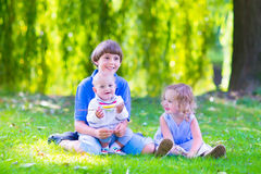 Happy kids in the garden Royalty Free Stock Photo