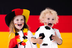 Happy kids, German football supporters Stock Photography
