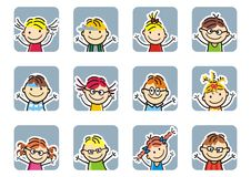 Happy kids,girls and boys, frame, vector icon. Happy kids,girls and boys, faces, vector icon. Group of children, portraits with white contour on the gray frame royalty free illustration