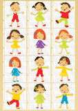 Happy kids girls and boys vector set on copy paper Stock Images