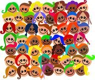 Happy Kids. A group of happy and diverse kids cartoon faces Stock Photography