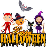 Happy kids with Halloween costume isolated on white background Stock Photo