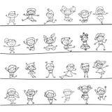 Happy kids hand drawing cartoon character Stock Image