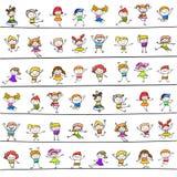 Happy kids hand drawing cartoon character Stock Photo