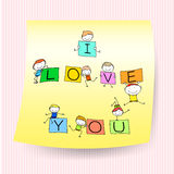 Happy kids hand drawing character with love words on sticker not Royalty Free Stock Photos