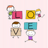 Happy kids hand drawing character with love words Royalty Free Stock Image