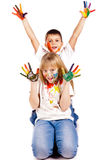 Happy kids with hands painted in colorful paints Stock Image