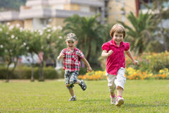 Happy kids have fun in nature Stock Image