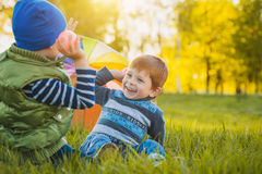 Happy kids have fun in outdoors park Royalty Free Stock Photography