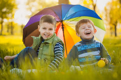 Happy kids have fun in outdoors park. Happy kids group have fun in nature outdoors park Stock Photography
