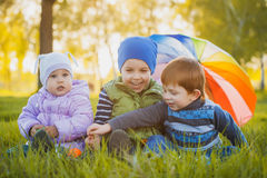 Happy kids have fun in outdoors park Royalty Free Stock Photos