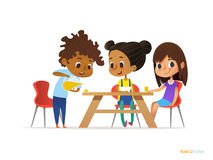 Happy kids having breakfast by themselves. Two girls eating morning meals at table and boy pouring drink into glass. Child nutriti. On concept. Vector royalty free illustration