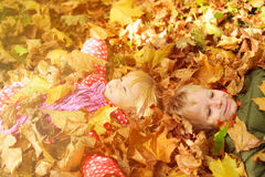 Happy kids having fun in autumn fall leaves Stock Images