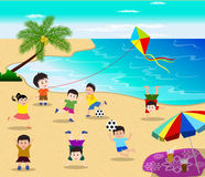 Happy kids having fun on the beach vector illustration Royalty Free Stock Image