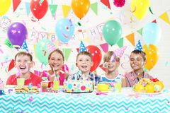 Happy kids. Having fun at birthday party stock photography