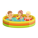 Happy kids having fun in inflatable swimming pool, colorful characters vector Illustration. On a white background Stock Image