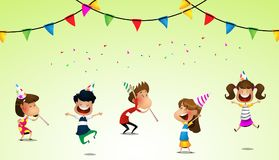Happy kids jumping together during a sunny day stock illustration