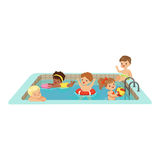 Happy kids having fun in a swimming pool, colorful characters vector Illustration. On a white background Stock Images